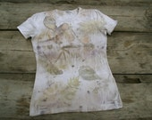 Women t-shirt eco print hand dyed OOAK