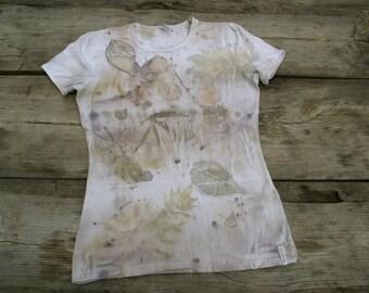 Women t-shirt eco print hand dyed OOAK