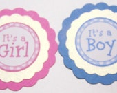 Its a Girl, Its a Boy, New Baby, Babies, Pink, Blue, Baby Shower, Party Decor, Paper Piecing, Scrapbooking, Favor Tag, Gift Tag,Card Topper