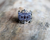 Black and Grey Owl Adjustable Antiqued Silver Ring