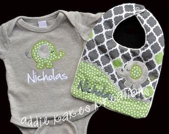 Elephant baby gift etsy personalized elephant baby set gender neutral baby outfit baby boy elephant set elephant negle Images