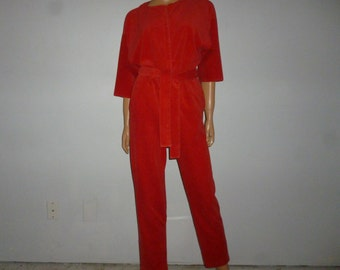 SANTA Baby - Vintage 70's -  Christmas Red - Velour - Metal Snap - Button Front - Cinched - SANTA - Jumper - Jumpsuit - Pjs - size small