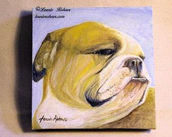 Dog Art Pet Portrait Original Oil Painting Bulldog
