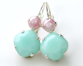 Faceted Mint Green Swarovski Crystals with Vintage Pink and White Glass Cabochons on Silver Leverback Earrings