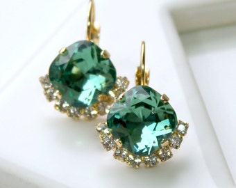 Blue-Green Swarovski Crystals Partially Framed with Halo Crystals on Gold Leverback Earrings