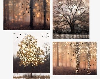 Nature Photography, Surreal Fantasy Fairy Lights Trees, Sparkling Twinkling Fall Autumn Nature, Set of 4 Sepia Brown Fantasy Fairytale Trees