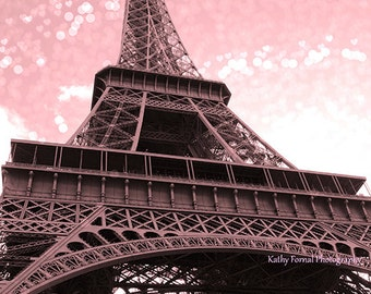Pink Eiffel Tower Prints, Paris Photography, Eiffel Tower Pink Print, Paris Pink Baby Girl Nursery Decor, Shabby Chic Paris Eiffel Tower Art