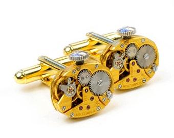 Antique 1950's Gold Hamilton Watch Steampunk Cuff Links