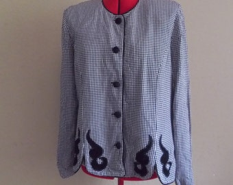 Vintage HOUNDSTOOTH Shirt • 80s Black and White Checkered Top / Blazer • Large