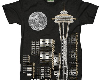 Seattle Skyline in Words T-Shirt