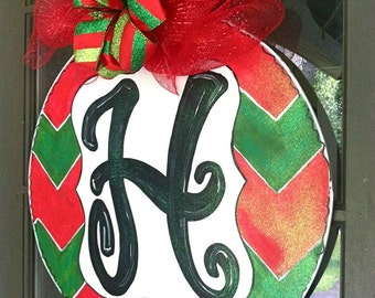 Chevron Christmas Ball Door Hanger - Bronwyn Hanahan Art