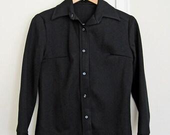 Vintage 1970s Button Up Black Shirt