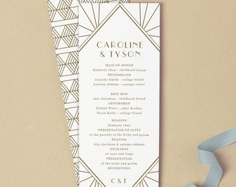 Printable Wedding Program Template | INSTANT DOWNLOAD | Gatsby | Flat Tea Length | Instant Download | Mac or PC | Word & Pages