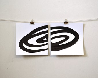 """abstract minimal art: """"two simple gestures,"""" original ink painting diptych"""