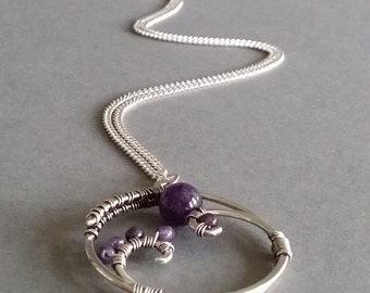 Amethyst Amulet wire wrap pendant in sterling silver