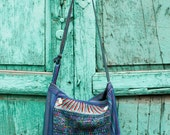 Large colorful Upcycled Guatemalan Huipil Crossbody Handwoven Purse - Blue or Purple Bags - Day Bag - Shoulder Bag - Handmade in Guatemala