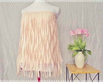 Chiffon Dream Festival Fringe Tube Top - Summer Strapless Top, Chiffon Top, Summer Pastel Top, Coachella Clothing, OOAK Top in Size Medium