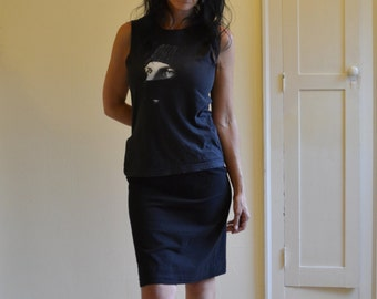 Sale, Small, Jersey Skirt, Knee Length, Lines Detail, Modern Style- ready to ship