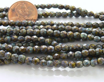 Opaque Olive Picasso, Czech Beads Fire Polished 4mm 50 Faceted Round GLass