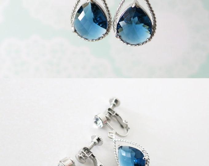 Mabel Clip On - Montana Blue Crystal Teardrops Clip-on Earrings, non-pierced earrings, blue wedding, Bridal Bridesmaid Earrings, Bridesmaids