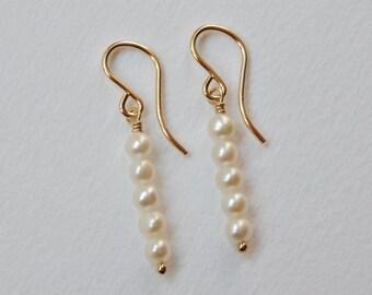 Pearl Stick Earrings - Beaded Gold Filled Dangle Earrings Beadwork Earrings Creamy White Pearls