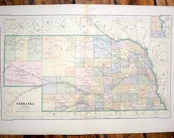 1887 NEBRASKA USA MAP -  original antique print - map of united states of america