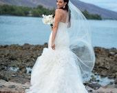 "Bridal Veil Chapel Length Wedding Veil 72, 108"" wide 80"" long ivory, champagne, bridal illusion tulle long veil floor length bridal veil"