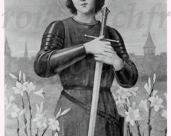 antique French victorian illustration saint Joan of Arc in armure digital download