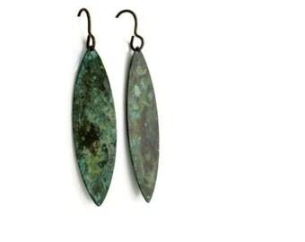 Leaf Earrings - Verdigris Patina Brass