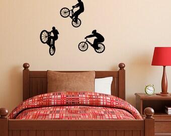 BMX Bike Wall Decal - Set of Three - Children Wall Decals - Medium