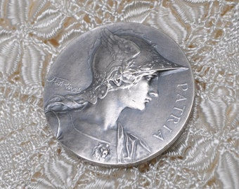 Vintage French Art Medal Silver Plated Copper Patria Signed Rives
