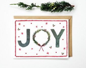Christmas Card Joy Wreath