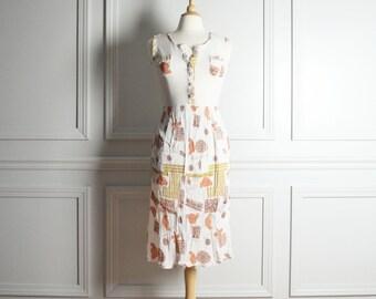 SALE Dress Day Midi / White Earthtones / Mesh Top Ruched Skirt / Tank Cover Up / Tribal Print Boho