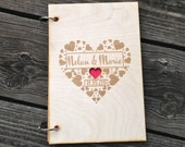 Wood Wedding Guest Book Personalized Guest Book Rustic Wedding Guest Book Anniversary Wedding