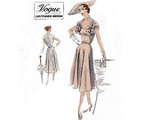RARE 1950s Evening Dress Pattern Vogue Couturier No 624 Draped Shoulders Full Skirt Wedding Cocktail Prom Size 16 Bust 34 inches