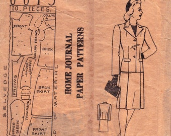 RARE 40s PLUS SIZE Skirt & Jacket Pattern Australian Home Journal 6613 Bust 38 inches War Era Skirt Suit Vintage Sewing  Sewing Pattern