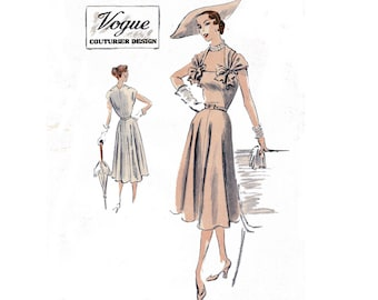 Vogue Couturier Design 624 Womens Evening Dress Draped Shoulders Full Skirt Wedding Cocktail Prom 50s Vintage Sewing Pattern Bust 34 inches