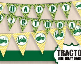 TRACTOR HAPPY BIRTHDAY Banner in Green and Yellow- Instant Printable Download
