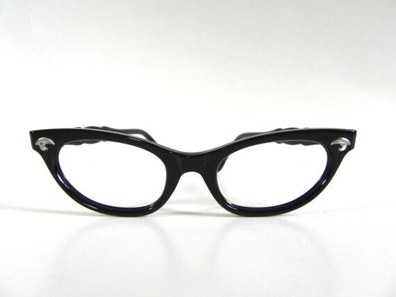Vintage eye glasses frames 50s nos black art craft bakelite for Art craft eyeglasses vintage