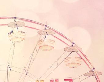 ferris wheel photo, girl nursery art ideas, little girl bedroom, wall art girl, carnival art, pink nursery decor, ferris wheel wall decor