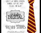 1 Red and Gold Wizard Stripes Tie Printable DIY Iron On Tie Decal, boys youth size, printable tie, Iron on tie for tshirts