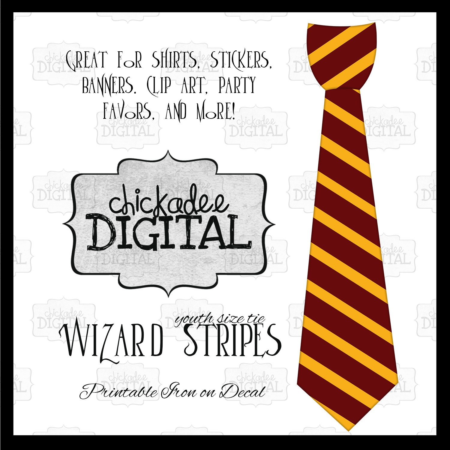 1 red and gold wizard stripes tie printable diy iron on tie for Harry potter tie template