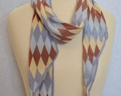 Long vintage silk scarf: ECHO Diamonds Wing Tipped