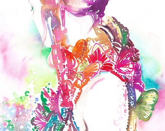 Print of Alexander McQueen Sarah Burton Butterflies, Fashion Print, Fashion Illustration by Cate Parr
