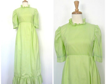Vintage Green Wedding Dress - 60s dress - tea dress - green maxi - bridesmaid - boho - Small