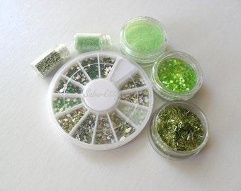 SALE Jade Nail Art 23 Manicure Kit, pearl dangles fine metallic Irish emerald glitter The Green Fairy absinthe also scrapbooking, christmas