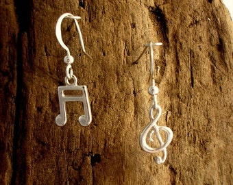 Treble Clef and Semiquaver Earrings, Music note jewellery,  Music Jewellery, G- clef and Semiquaver Earrings, Sterling Silver, Music Gift.