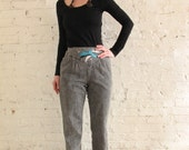 Reserved for Meg Culp MARIE ST. MONET Pleated Embellished Yoke Black Stonewashed Taper Pants