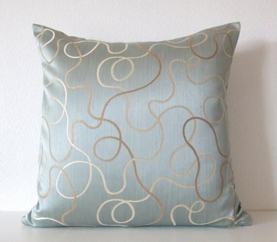 Candice Olson Blue Living Rooms: Candice Olson Blue Brown Swirl Geometric Designer Throw Pillow