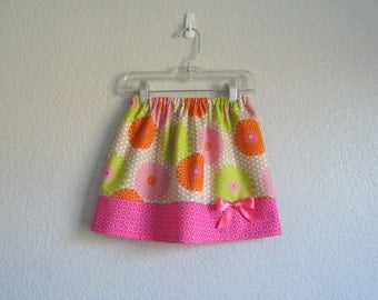 Little Girls Skirt - Zinnias and Dots - Pink Skirt with Orange and Chartreuse Zinnias - Size  12m, 18m, 2T, 3T, 4T, 5, 6  or 7